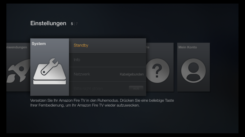 Amazon Fire TV Standby manuell aktivieren