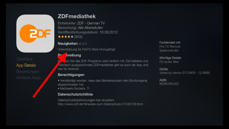 Fire TV Stick in Deutschland ZDF