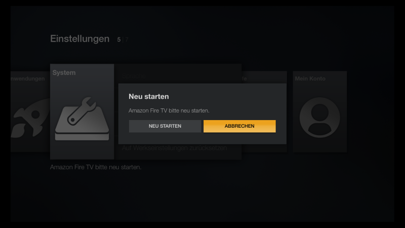 Fire TV Firmware Update Neu Starten