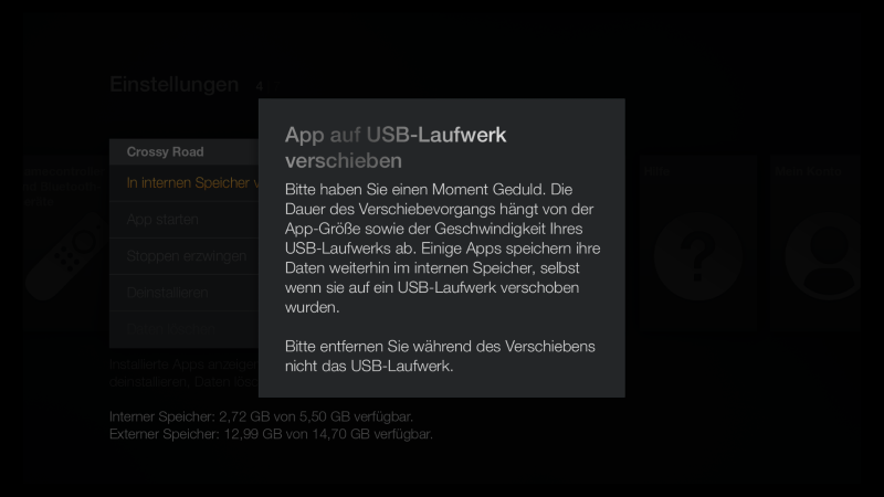 Fire TV Firmware Update USB Speicher verschieben