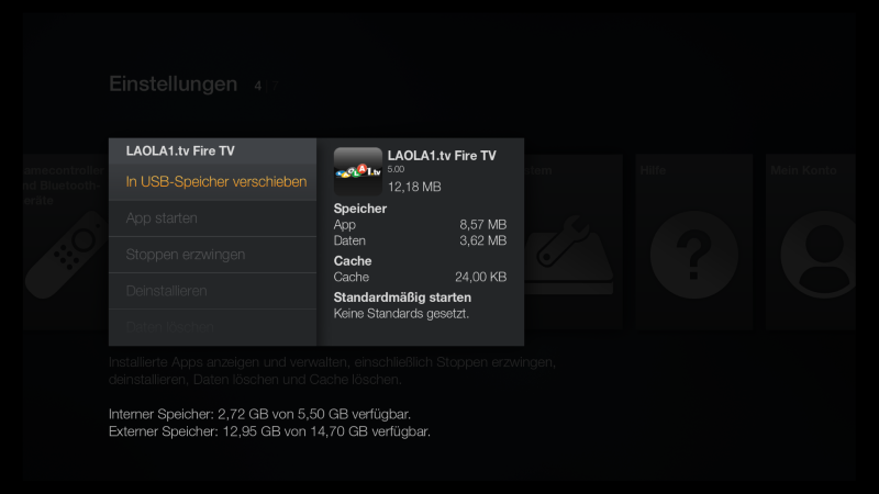 Fire TV Apps auslagern