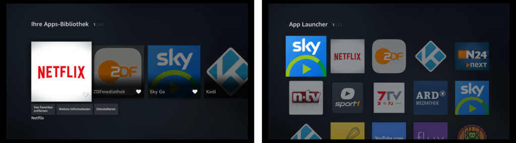 App Launcher Fire TV alt vs. neu