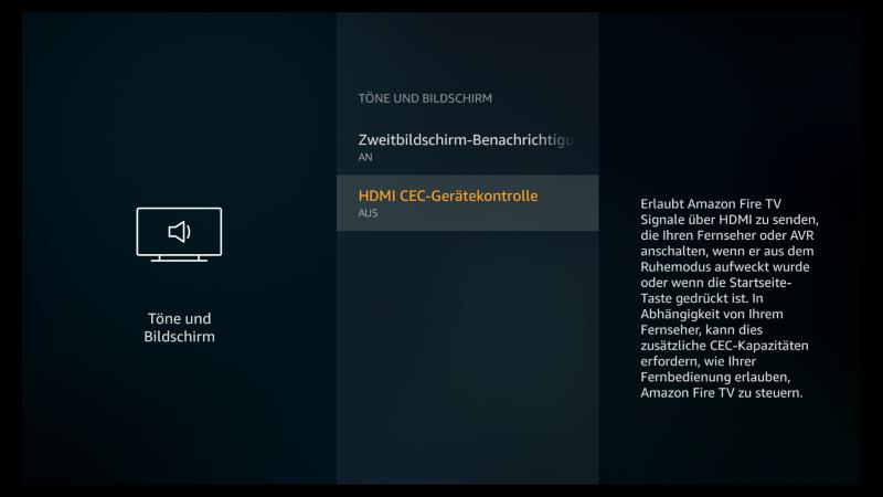 Beim Fire TV und Fire TV Stick HDMI-CEC ausschalten
