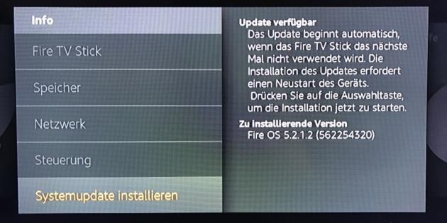 Fire TV 1. Gen und Fire TV Stick erhalten Fire OS 5.2.1.2