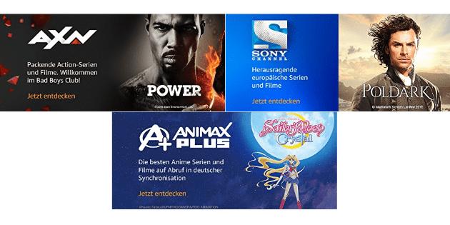 Drei neue Amazon Channels: AXN, Sony Channel und Animax Plus ab sofort buchbar