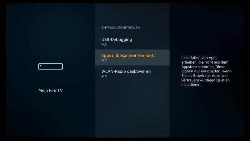Kodi auf dem Fire TV Stick und Fire TV installieren - Schritt für Schritt Anleitung (Stand 2019) - Apps unbekannter Herkunft AN