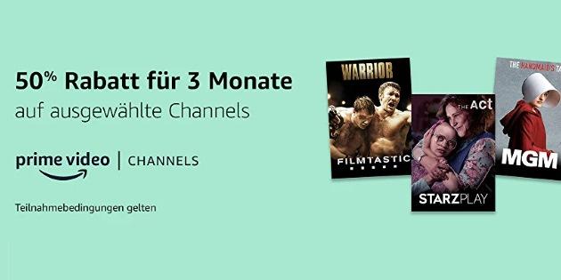 Drei Monate lang 50 % Rabatt! Sechs verschiedene Prime Video Channel zum Sonderpreis!