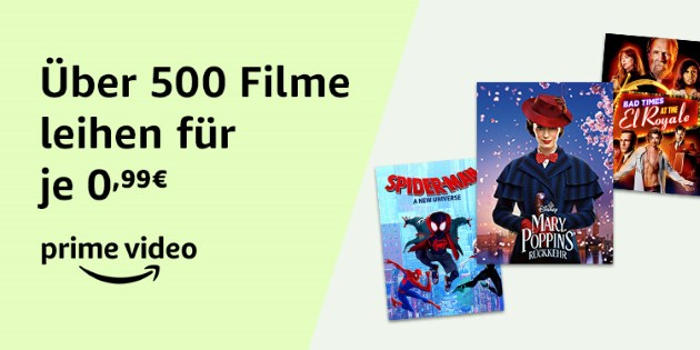 Günstige Leihfilme: Über 500 Filme für jeweils nur 0,99 €