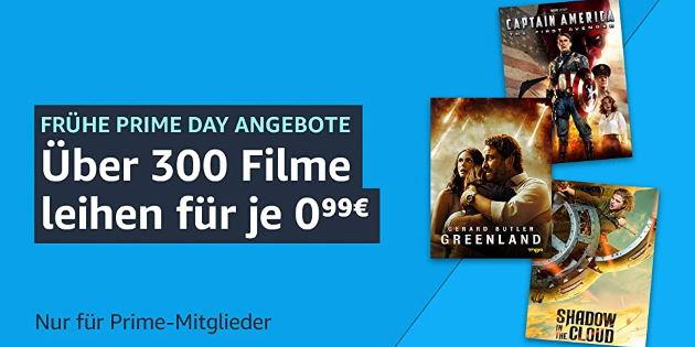 Günstige Leihfilme XXL: Mehr als 300 Filme für je nur 0,99 € leihen – frühe Prime Day Angebote
